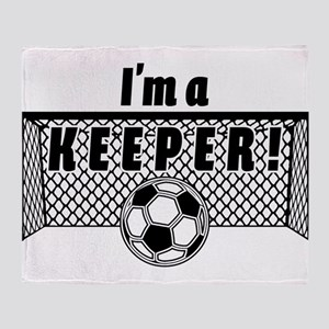 Im a Keeper soccer fancy black Throw Blanket