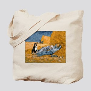 Dog in Van Gogh noon rest painting Tote Bag