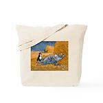 Dog in Van Gogh noon rest painting Tote Bag