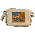 Dog in Van Gogh noon rest painting Messenger Bag