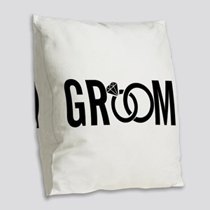 groom Burlap Throw Pillow