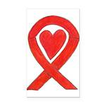 Red Awareness Ribbon Heart Rectangle Car Magnet