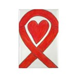 Red Awareness Ribbon Heart Magnets 10 Pack