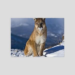 Puma During Winter 5'x7'Area Rug