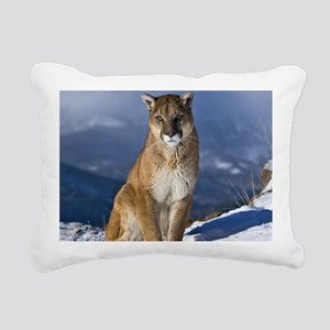 Puma During Winter Rectangular Canvas Pillow