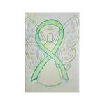 Lime Green Awareness Ribbon Angel Magnets 10 Pack