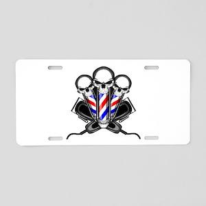 Barber Skulls Aluminum License Plate