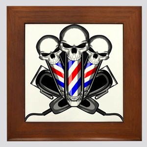 Barber Skulls Framed Tile