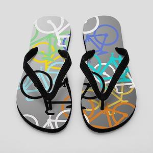 Colored Bikes Design Flip Flops