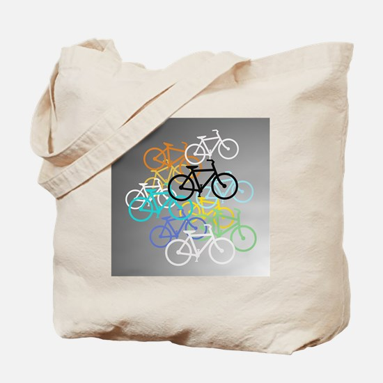 Colored Bikes Design Tote Bag