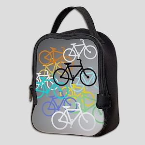 Colored Bikes Design Neoprene Lunch Bag