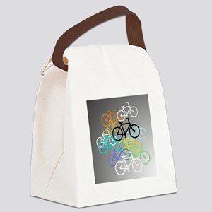 Colored Bikes Design Canvas Lunch Bag