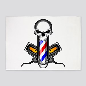 Barber Skull: Flaming Clippers 5'x7'Area Rug