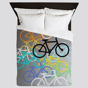 Colored Bikes Design Queen Duvet
