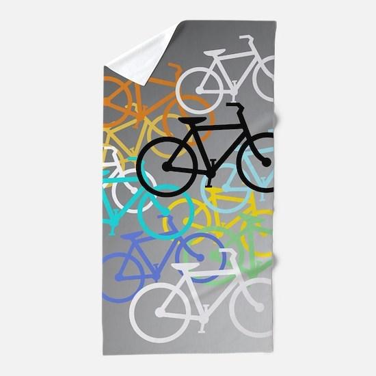 Colored Bikes Design Beach Towel