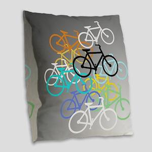 Colored Bikes Design Burlap Throw Pillow