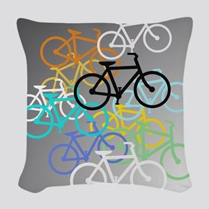 Colored Bikes Design Woven Throw Pillow