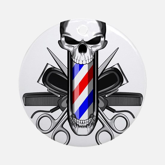 Barber Skull: Barber Tools Round Ornament