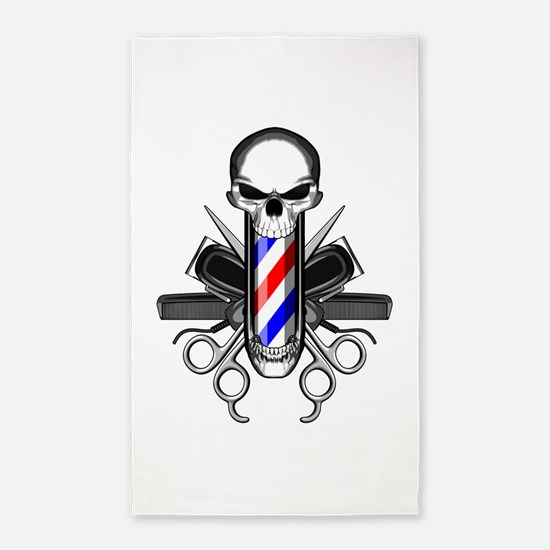 Barber Skull: Barber Tools Area Rug