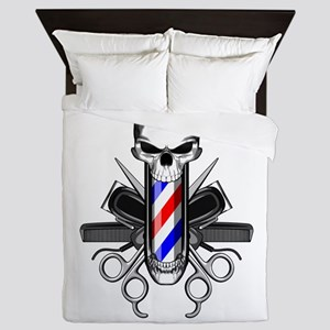 Barber Skull: Barber Tools Queen Duvet