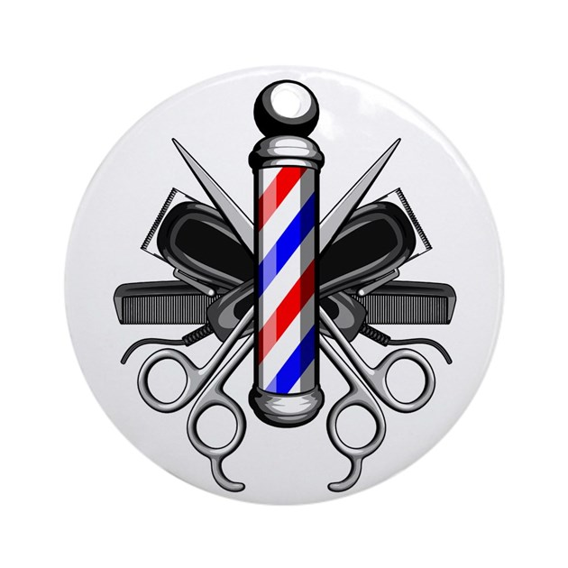 Barber Logo Round Ornament By Rotntees