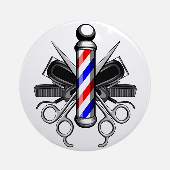 Barber Logo Round Ornament