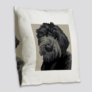 Black Russian Terrier Burlap Throw Pillow