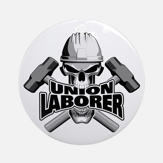 Union Laborer Skull Round Ornament
