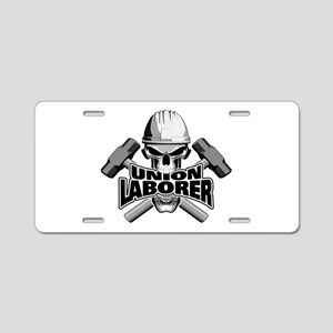 Union Laborer Skull Aluminum License Plate