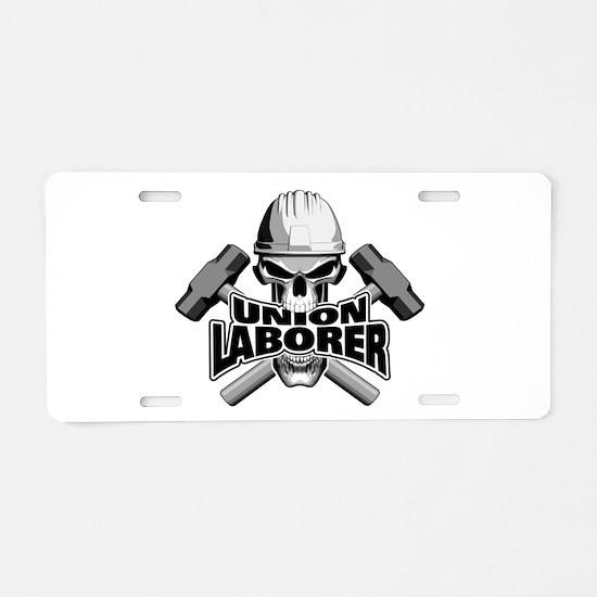 Union Laborer Skull Aluminum License Plate