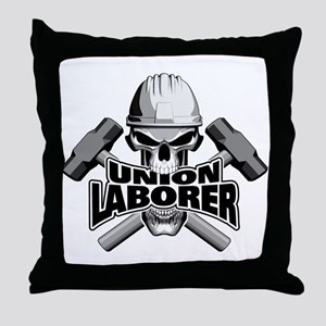 Union Laborer Skull Throw Pillow