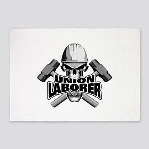Union Laborer Skull 5'x7'Area Rug