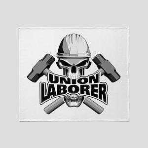 Union Laborer Skull Throw Blanket