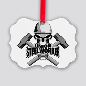 Union Steelworker Skull Ornament