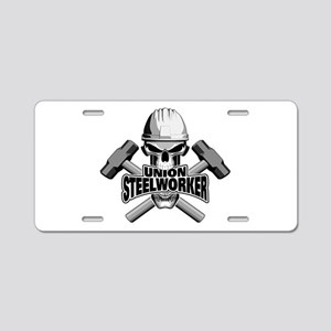 Union Steelworker Skull Aluminum License Plate