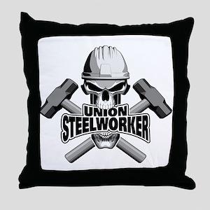 Union Steelworker Skull Throw Pillow