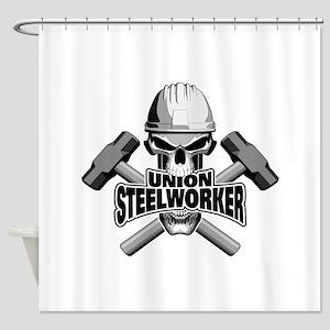 Union Steelworker Skull Shower Curtain