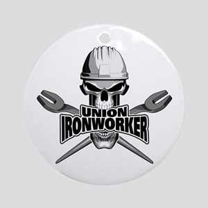 Union Ironworker Skull Round Ornament