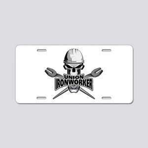 Union Ironworker Skull Aluminum License Plate