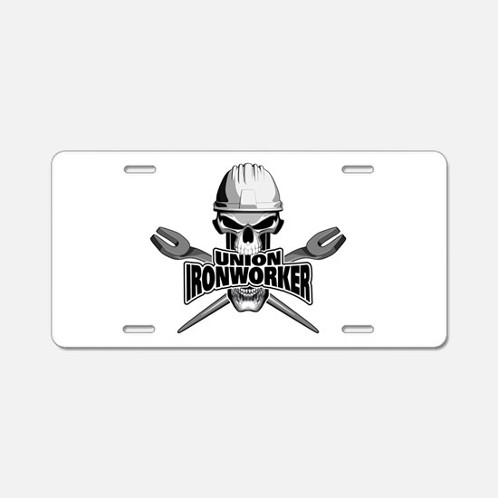Union Ironworker Skull Aluminum License Plate