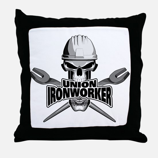 Union Ironworker Skull Throw Pillow