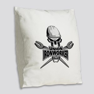 Union Ironworker Skull Burlap Throw Pillow