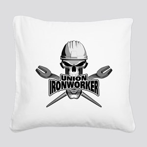 Union Ironworker Skull Square Canvas Pillow