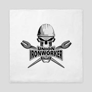 Union Ironworker Skull Queen Duvet