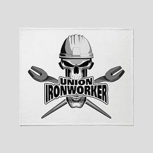 Union Ironworker Skull Throw Blanket