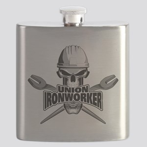 Union Ironworker Skull Flask