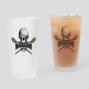 Union Ironworker Skull Drinking Glass