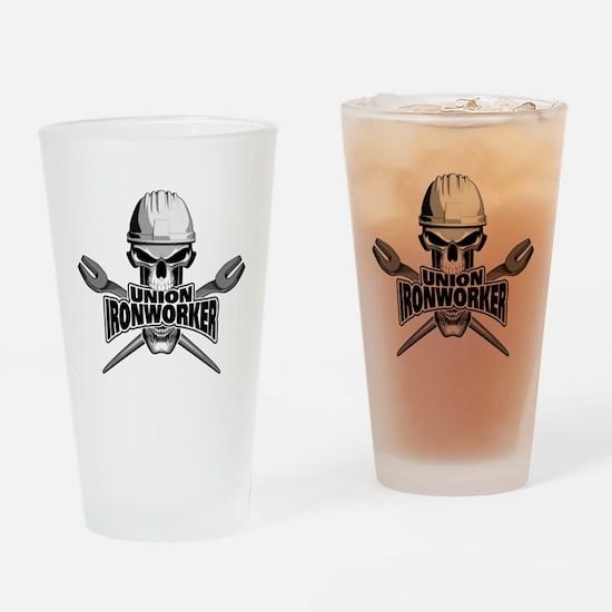 Union Ironworker Skull Drinking Glass