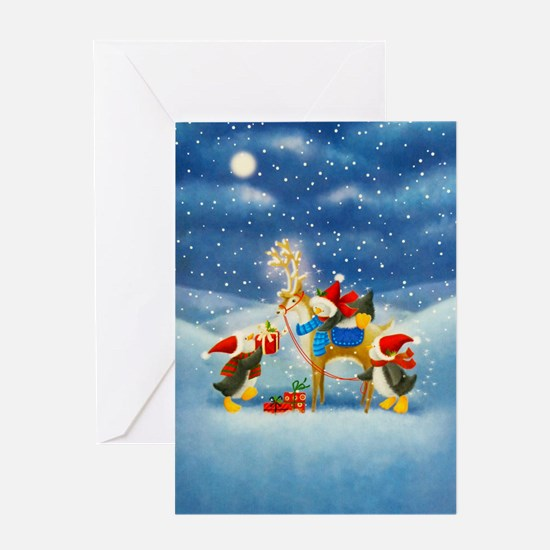 Penguin and Reindeer Christmas Greeting Cards
