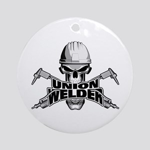 Union Welder Skull Round Ornament